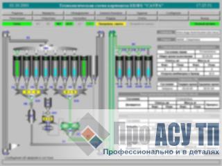 АСУ ТП комбикормового завода производительностью 210 тонн в сутки. Главный экран
